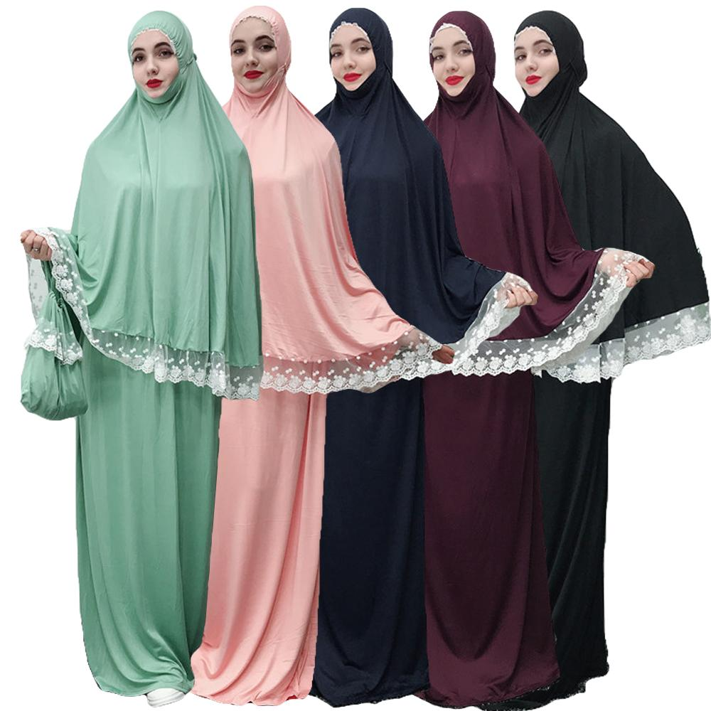 2PCS Abaya Robe Femme Ramadan Muslim Hijab Dress Turkey Kaftan Dubai  Women Caftan Prayer Islamic Clothing Middle East Ramadan