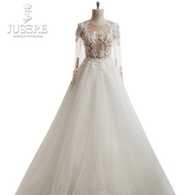 Jewel Neck Illusion Bodice Appliques Grid Beads Zipper up Bottons Back A line Tulle Skin Tone Long Sleeves Wedding Dress 2018