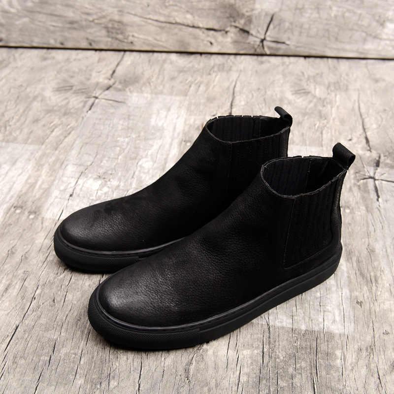 97afbec4 ... 2018 primavera otoño nueva piel tobillo Chelsea botas hombres zapatos  hombre Casual calidad de cuero genuino ...