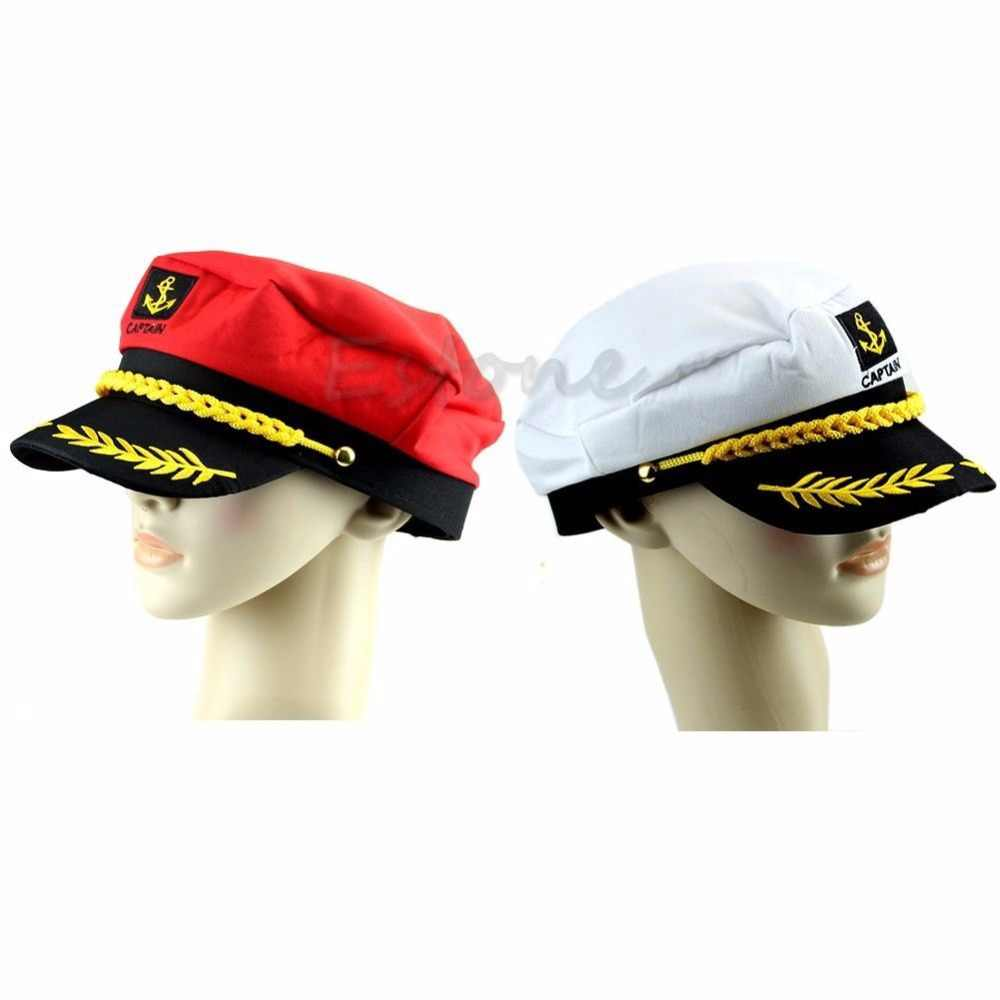 98cc835bb45ea Unisex Adult Peaked Skipper Sailors Navy Captain Boating Hat Cap Fancy  Dress -Y107