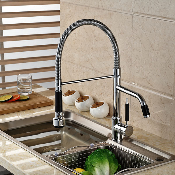 Swivel Spout Vessel Sink Pull Out  Style Mixer Tap Chrome Finished Kitchen Faucet ouboni high quality chrome finished pull out spring kitchen faucet swivel spout vessel sink mixer taps