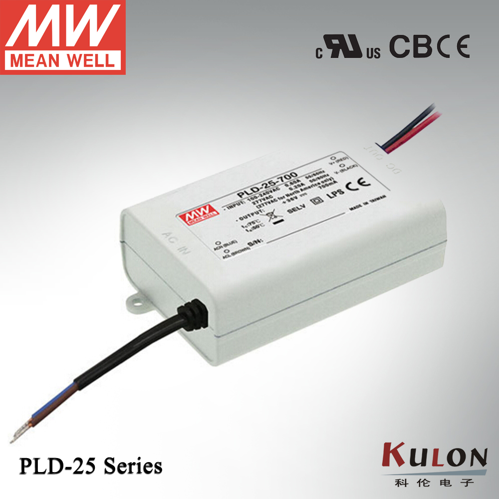 Genuine Meanwell LED power supply 25W PLD-25-700 25W 700mA constant current IP42 for Indoor led lighting genuine meanwell 40w pld 40 350b 40w 350ma led power supply constant current ip42 pfc function for indoor led lighting