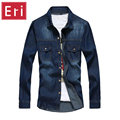 2017 Nova Calça Jeans Camisa de Manga Comprida Sólidos Casual Slim Fit Lavado Homem Denim Cowboy Algodão Roupas Plus Size 3XL Camisas Sociais X121
