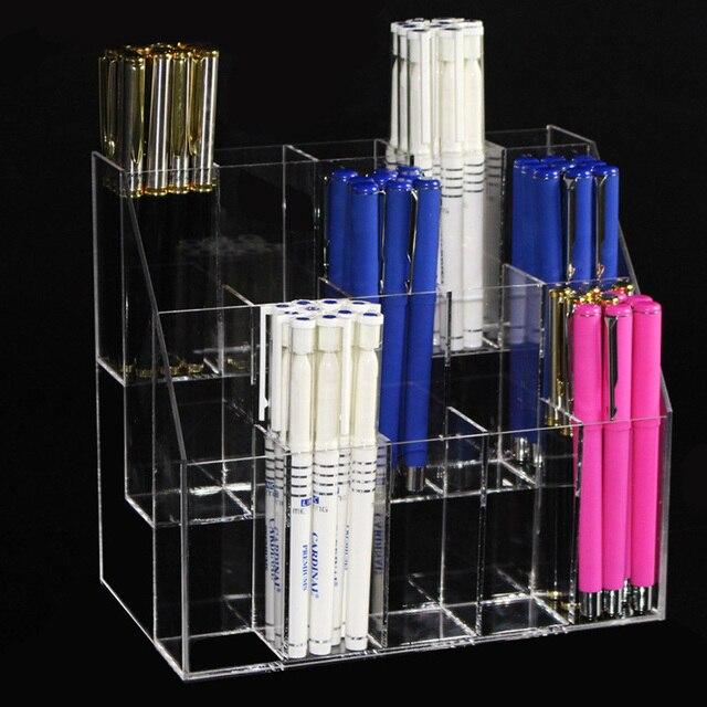 US $21 59 28% OFF|15 Slots Clear Pen Pencil Display Shelf Acrylic Eyebrow  Pencil Holder Eyeliner Storage Shelf Eyeliner Organizer Shelf Rack -in