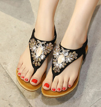 2016 Summer New Fashion Casual Shoes Woman Beaded Rhinestone Beach Flip-Flops Sandals Black Beige