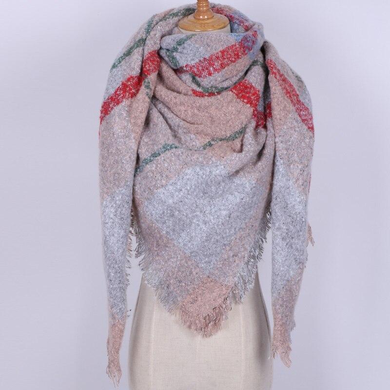 New Pattern Designer Brand Women Winter   Scarf   Snow Wool Square   Scarves     Wraps   Fashion Pashmina Plaid Warm   Scarf