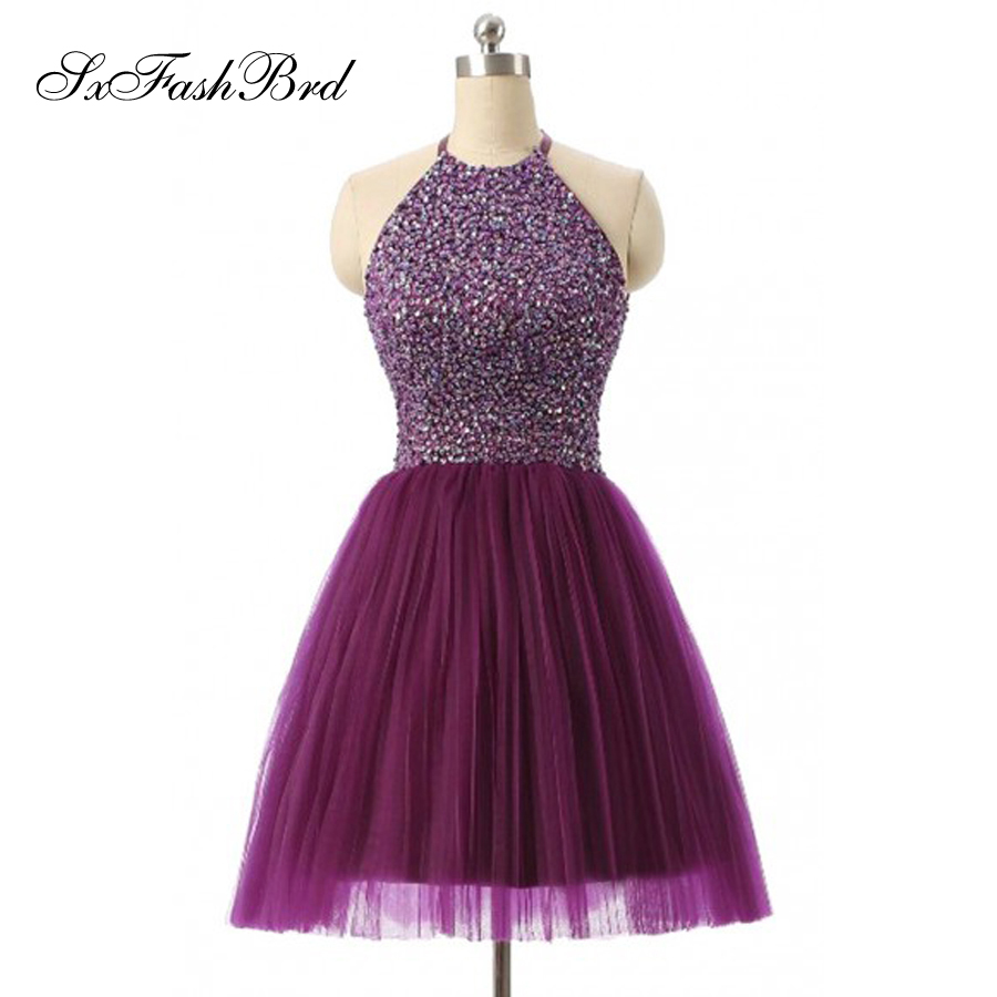 Sexy Fashion O Neck Accented Beading Natural Waist A Line Mini Short Special Occasion Dresses Party Cocktail Dresses