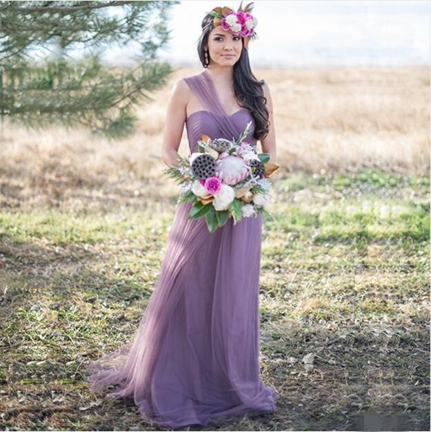 28ead55f20a 2016 Hot Sale Light Purple Summer Bridesmaid Dresses One Shoulder  Sweetheart Tulle Wedding Party Gowns vestido de festa
