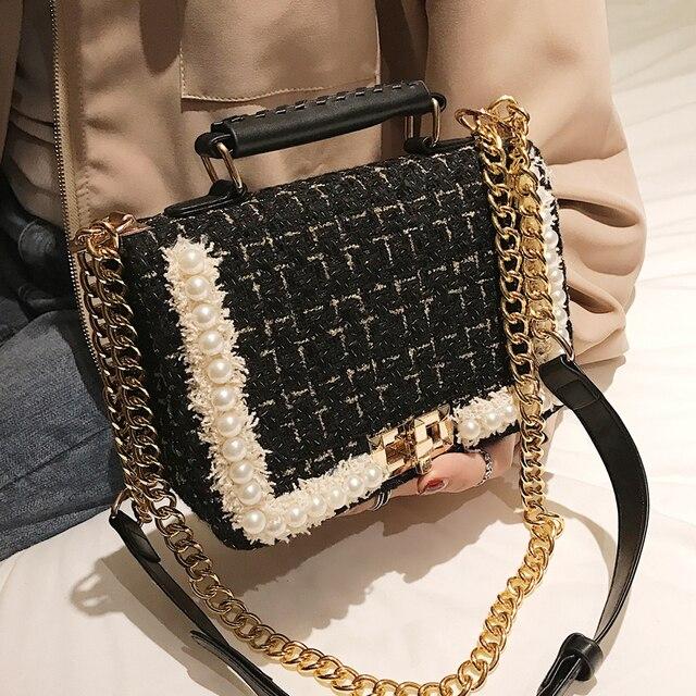 2019 Winter Fashion New Female Square Tote bag Quality Woolen Pearl Women's Designer Handbag Ladies Chain Shoulder Crossbody Bag 4