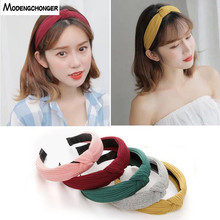 For Women Girls Hairbands Female Solid Color Hair Band Knitting Twisted Knotted Bezel Headwear Hoop Accessories