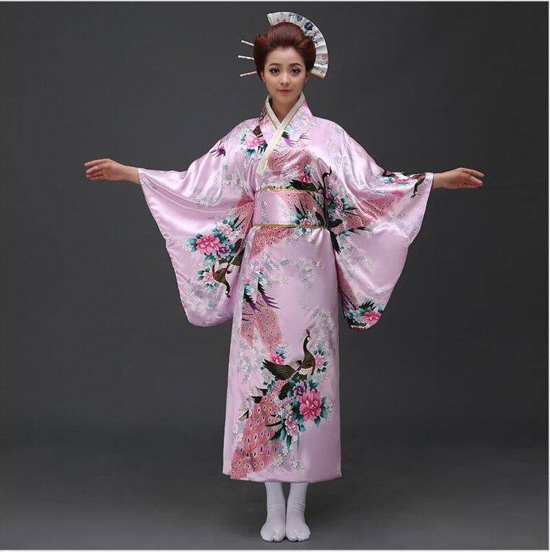 Vintage Japanese Lady Silk Satin Kimono Woman Yukata With Obi Novelty Evening Party Dress Cosplay Costume Flower One Size B-020
