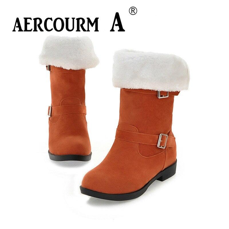 Aercourm A femmes retournées bottines imperméables couleur unie bottes d'hiver bottes à glissière bouton plat en métal peluche chaussures d'hiver