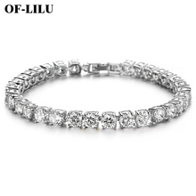New Fashion Rhinestone Natural AAA Zircon Mens Ladies hip hop wind Gold Silver Metal Chain Bracelet Jewelry Copper Material 5mm
