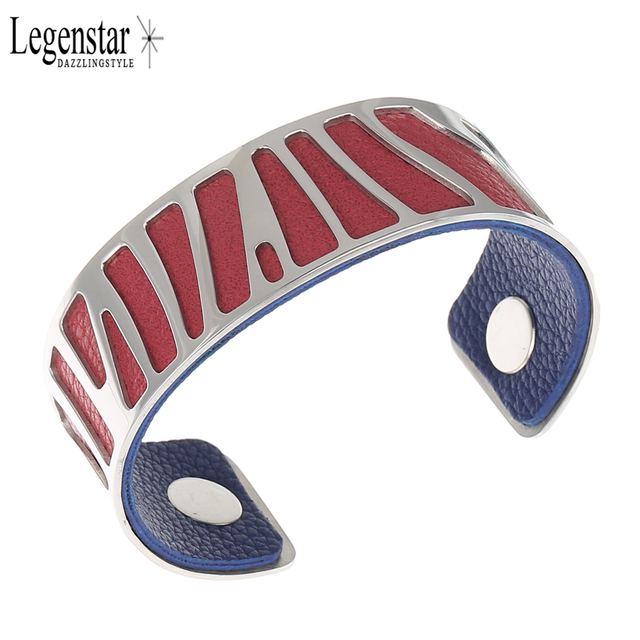 Legenstar Parrot Cuff Bangle For Women Silver Color Bracelets Interchangeable Reversible Pu Leather Stainless Steel