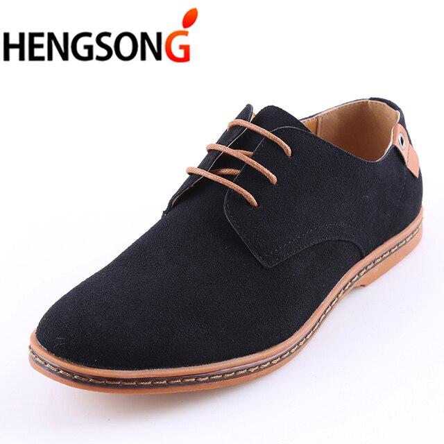 e2ed8d9f3 HENGSONG Sapato Masculino Outono Inverno Homens Sapatos de Camurça Sapatos  de Couro Liso Sapatos Casuais Homem