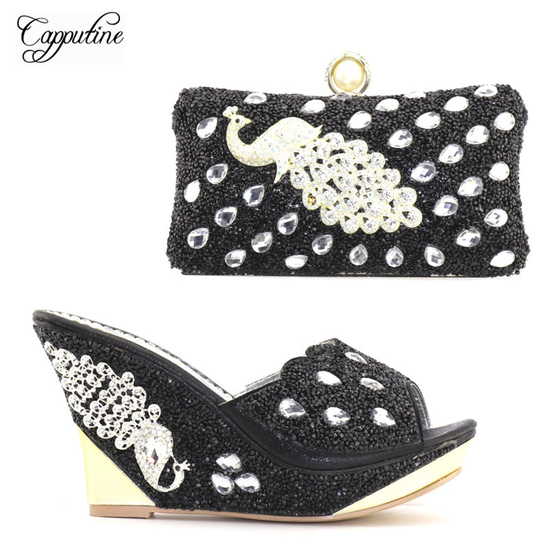 Capputine Newest Italian Black Shoes With Matching Bags Set For Women Italian Style Rhinestone Ladies Shoes And Bag Set HR001 free shipping newest shoes matching bags royal blue italian designer shoes and bags ct16 06