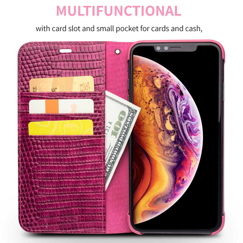 Image 2 - QIALINO Genuine Leather Phone Case for iPhone X/XS/XR Fashion  Luxury Handmade Women Bag Card Slot Flip Cover for iPhone XS MaxFlip  Cases