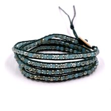 Handmade 4 Wrap Bracelet green Crystal Beads on Leather Bangle Chain Jewelry(China)