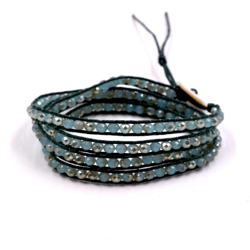 Handmade 4 Wrap Bracelet green Crystal Beads on Leather Bangle Chain Jewelry