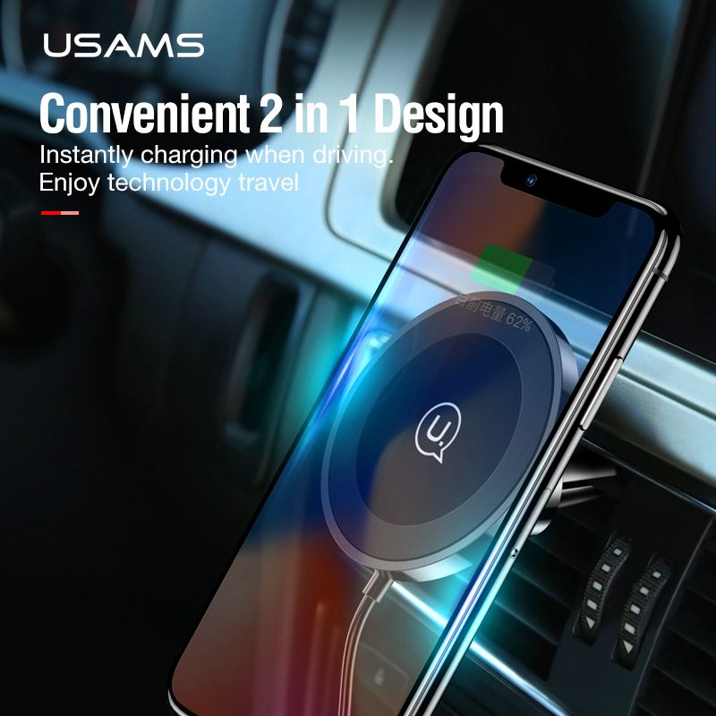 USAMS Wireless Charger Magnet Car Charger Qi Wireless Charger for iPhone X Fast Charge 10W for Samsung S8/S9/Plus Phone Charger