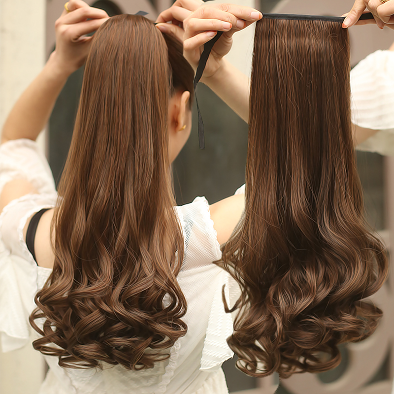 58cm Long Curly Wavy Ponytail Synthetic Hair Clipin Hair ...