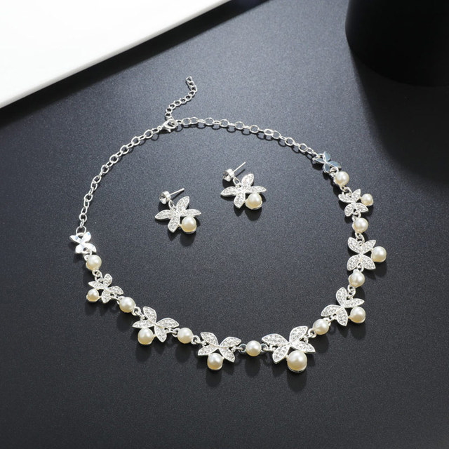 04ec7bf4aeb87a Hot Imitation Pearl Wedding Necklace Earring Sets Bridal Jewelry Sets
