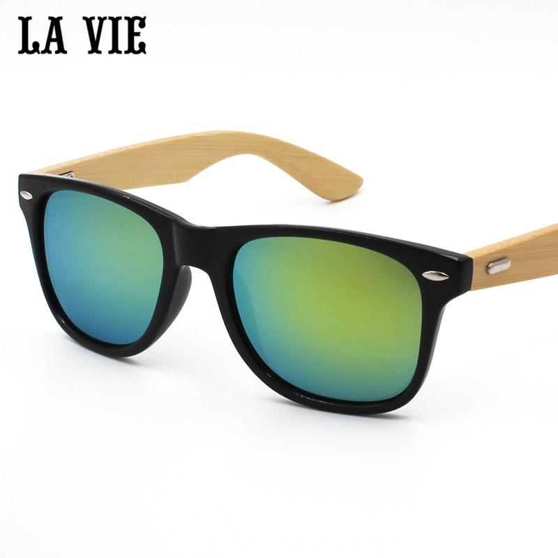 La vie merek retro bambu kayu sunglasses pria wanita uv400 lensa - Aksesori pakaian - Foto 2