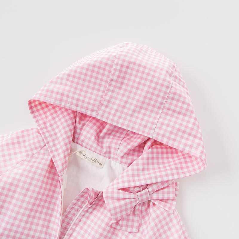 DB7123 דייב bella פעוט תינוק תינוק אביב בנות ילדי מעיל ברדס הלבשה עליונה משובצת בגדי ילדים באיכות גבוהה היפה