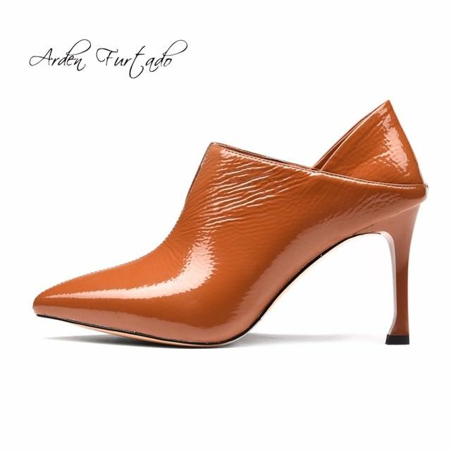 Arden Furtado 2018 new spring autumn new fashion style genuine leather shoes  woman high heels 9cm slip on pumps orange stilettos 98d7b98361d3