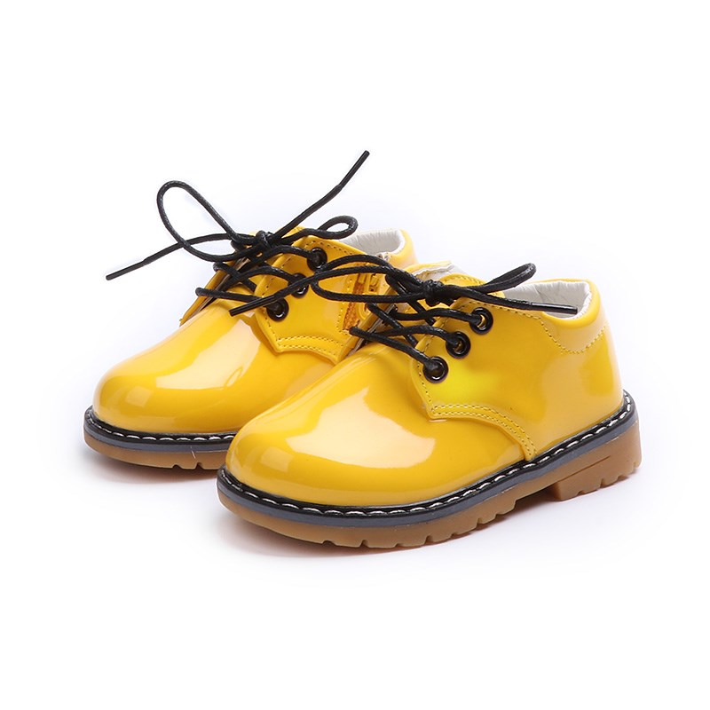 2018 Fashion PU Patent Leather Kids Shoes For Boys Girls Unisex Children Sneakers Lace-up British Style School Show Party Shoes
