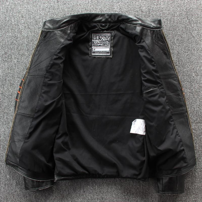 Image 5 - HARLEY DAMSON Vintage Black Men Embroidery Skulls Biker's Leather Jacket Plus Size 4XL Genuine Cowhide Slim Fit Motorcycle Coat-in Genuine Leather Coats from Men's Clothing