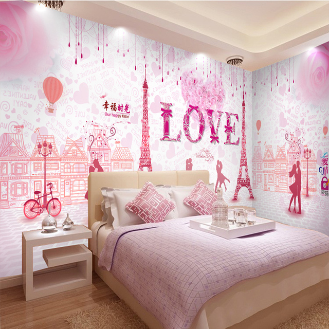 custom mural pink Romantic couple 3D wallpaper mural hotel ...