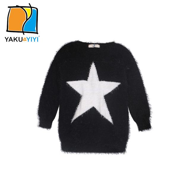 Ykyy yakuyiyi primavera estrella bordado niñas suéter caliente ocasional prendas de punto bebé niños suéteres ropa de los niños