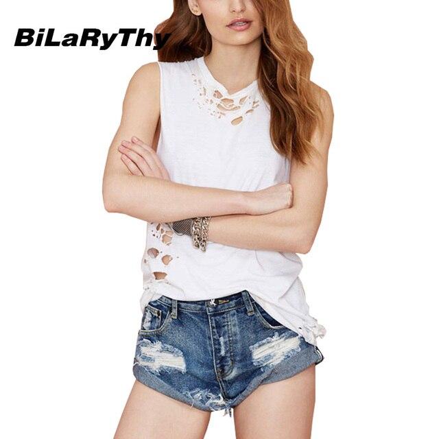 BiLaRyThy Estilo Moda Jeans Cortos de Verano Flojos Ocasionales de Las Mujeres Hemming Ripped Denim Shorts Ropa de Playa