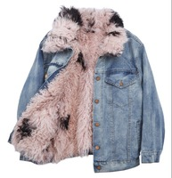 SuperAen Europe Warm Jacket Women 2017 Winter New Fashion Wild Denim Thickening Coat Casual Solid Color