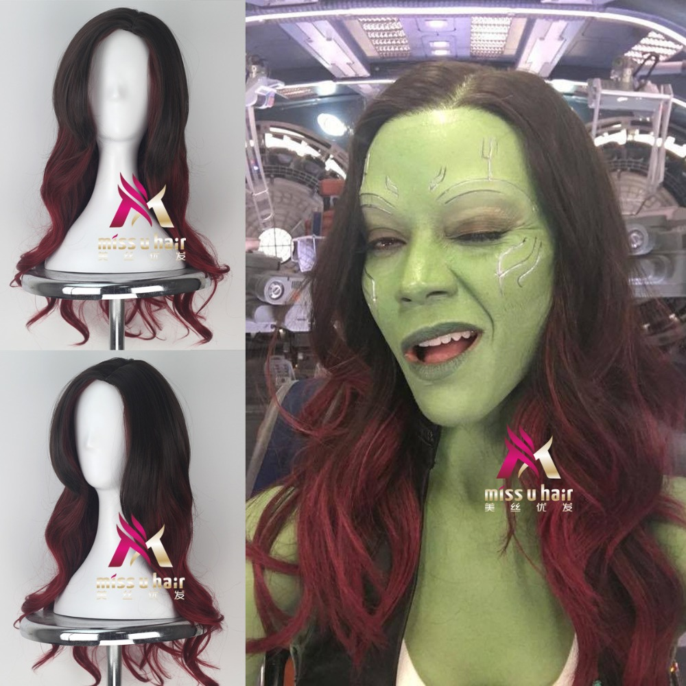 New Movie Guardians of the Galaxy Gamora wig Play Hair The Avengers Comic Cosplay Marvel Halloween Costume Synthetic Wigs