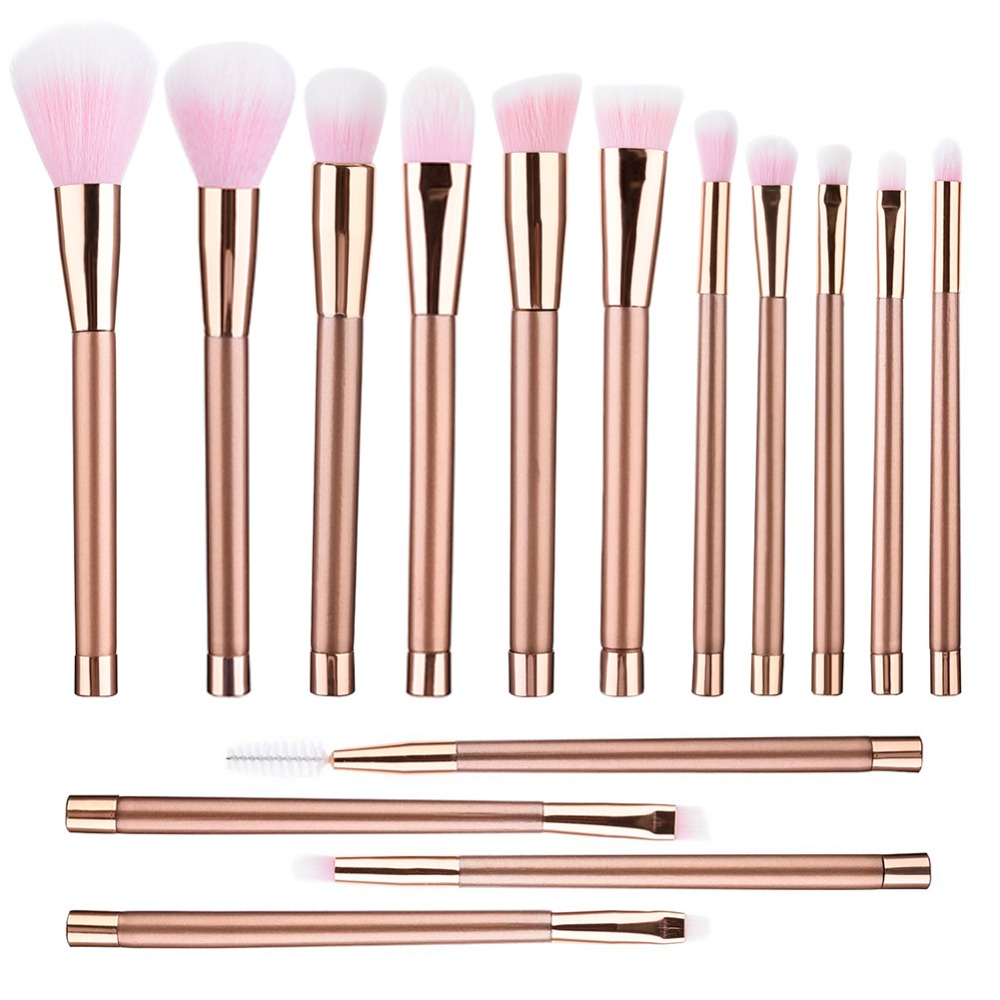 15Pcs Rose Gold Makeup Brushes Set Professional Flat Top Eye Shadow Eyebrow Eyelash Brush Contour Blush Powder Foundation Brush miss gorgeous makeup brushes set powder foundation steel eyelashes comb combination brush eye shadow eyelash eyeliner eyebrow