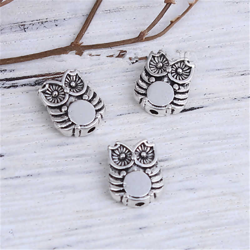 "DoreenBeads Zinc Based Alloy DIY Spacer Beads Owl Animal Antique Silver 10mm( 3/8"") x 8mm( 3/8""), Hole: Approx 1.1mm, 20 PCs"