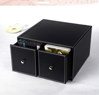horizontal home office 2 drawer leather desk CD/DVD sundries container storage box case organizer holder black 226A