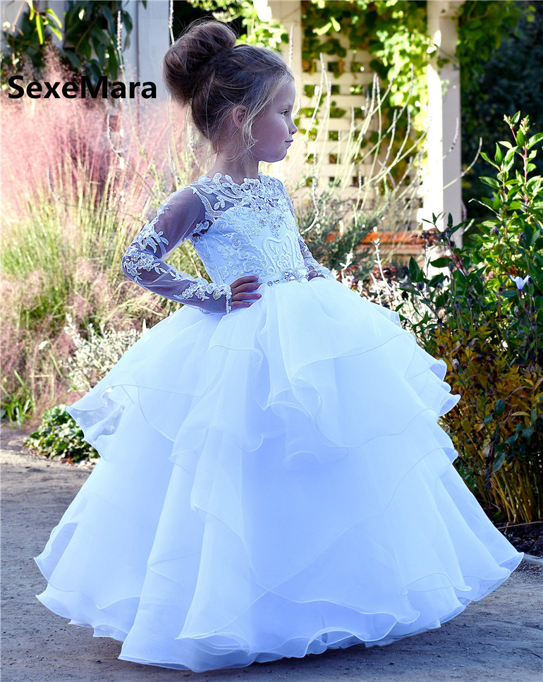 White Long Sleeve Lace Flower Girls Dresses for Wedding O Neck Puffy Tulle Kids Wedding Party Gown First Communion DressWhite Long Sleeve Lace Flower Girls Dresses for Wedding O Neck Puffy Tulle Kids Wedding Party Gown First Communion Dress