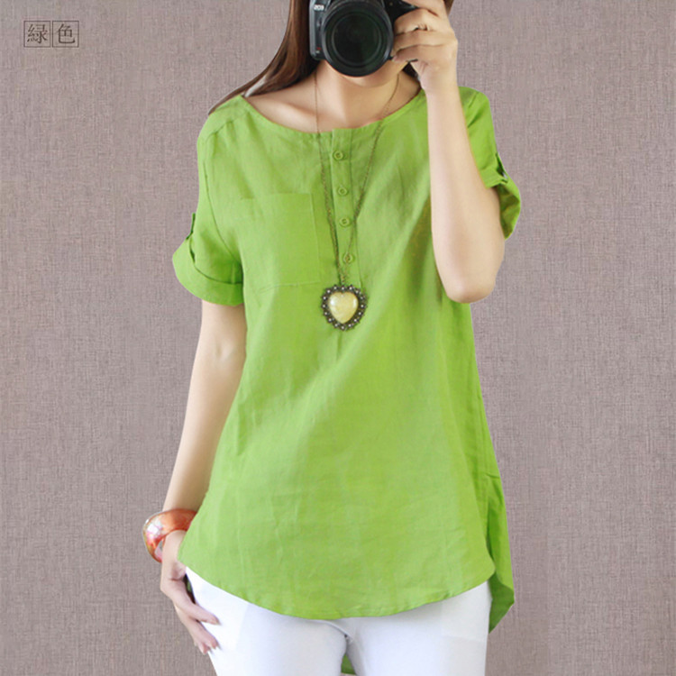 147026adc02 2016 Summer Women s Casual Linen Fabric Shirts Short sleeve O neck solid  color Large size Loose Shirt Hot sale-in T-Shirts from Women s Clothing on  ...