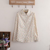 Mori Girl Shirts Cotton Long Sleeve Peter Pan Collar Shirt Womens Tops Blouses Floral Chemise Femme