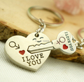 "Wholesale 20pair fashion Tibetan silver alloy ""I Love You"" Heart + Arrow Pendant Key Couple Key Chain Ring Y300"