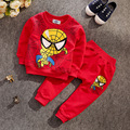 2016 spring New Novelty 4color Boys/Girls Long sleeve o-neck Spider Man Tops/Coat Trousers Set -Children Clothes 1-3years old