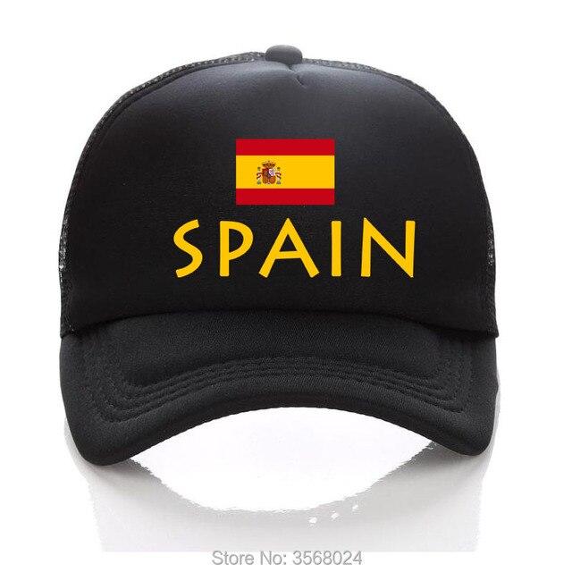 2018 football baseball Cap GOLD SPAIN Football Mesh Trucker Hats Summer  Kids Men SPAIN Flag Sun Hat Adult Snapbacks 461ab80d5