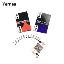 Yernea Poker 4 Sets/Lot 2 Color for Red and Blue Baccarat Texas Hold'em PVC Waterproof plastic playing poker cards 58*88mm недорого