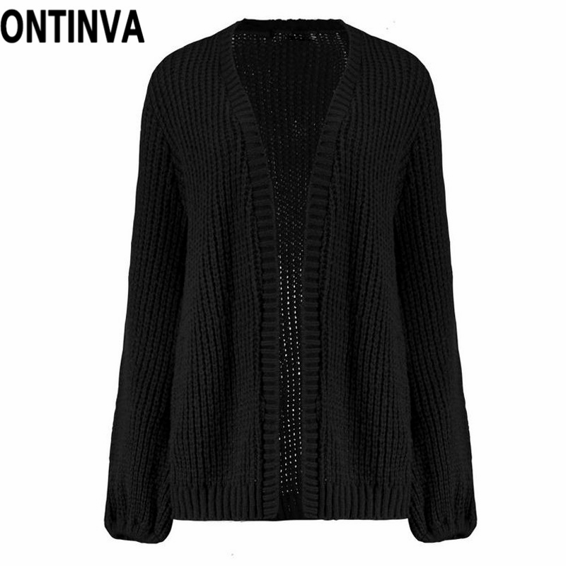 677c359838 Pink Color Ribbed Lantern Sleeve Cardigans for Women Black Autumn ...