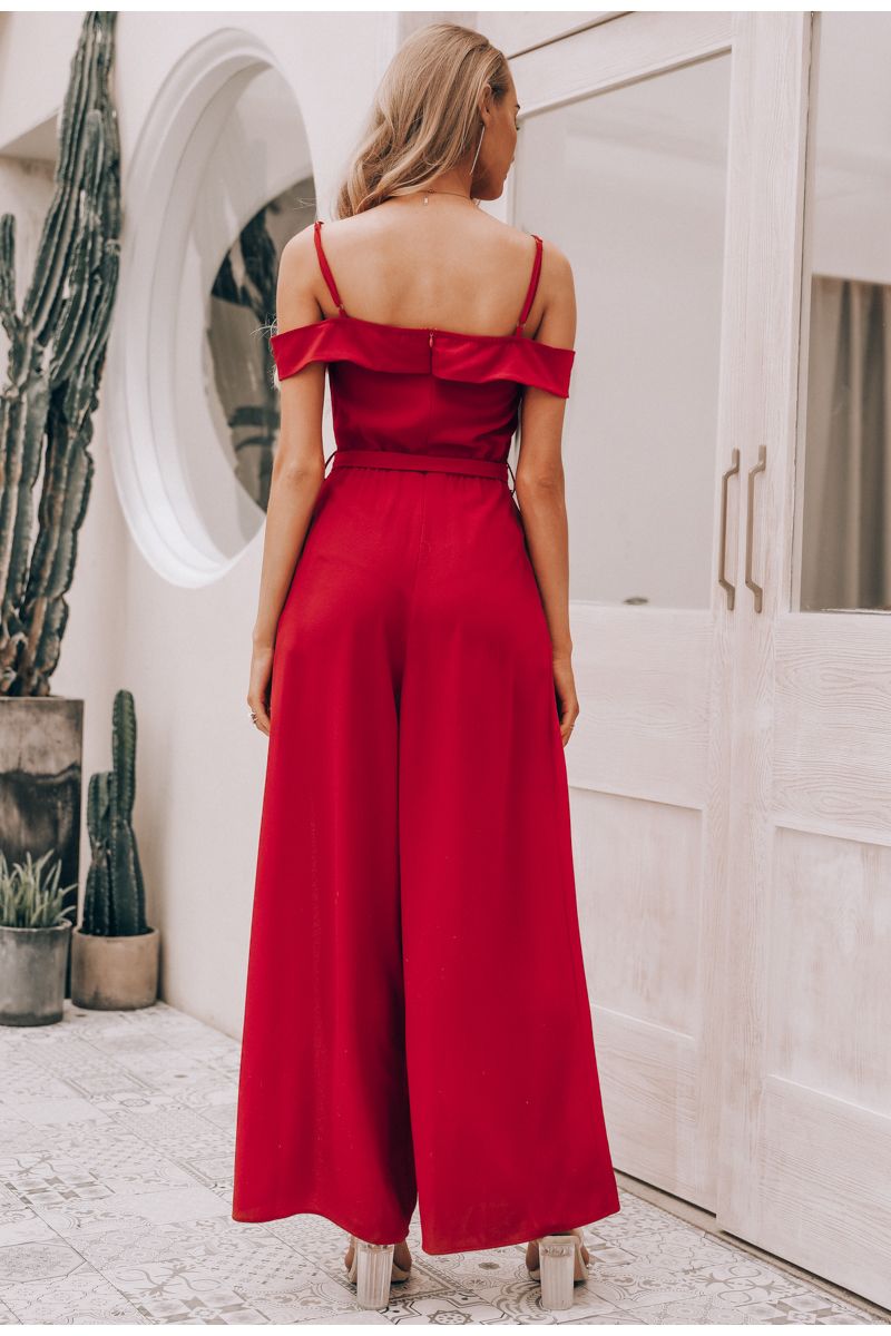 HTB1DroMaJjvK1RjSspiq6AEqXXa9 - Simplee Sexy off shoulder women jumpsuit romper Elegant high waist red jumpsuit long Summer wide leg lady playsuit overalls