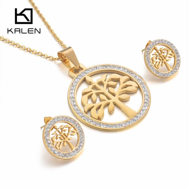 Kalen new stainless steel italian gold color tree of life pendant kalen new stainless steel italian gold color tree of life pendant necklace and earrings jewelry sets aloadofball Image collections