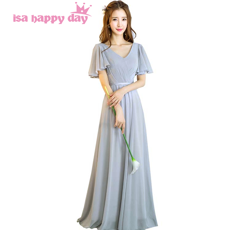 Long Chiffon Modest Light Gray Women Bridesmaid Dresses With Cap